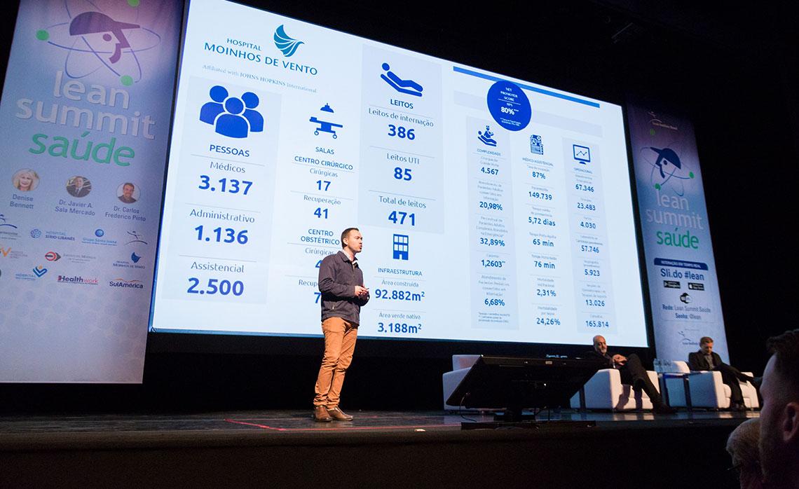 Frederico Tarrago e Vitor Ferreira, do Hospital Moinhos de Vento, apresentaram dados com melhorias significativas alcançadas com o lean.