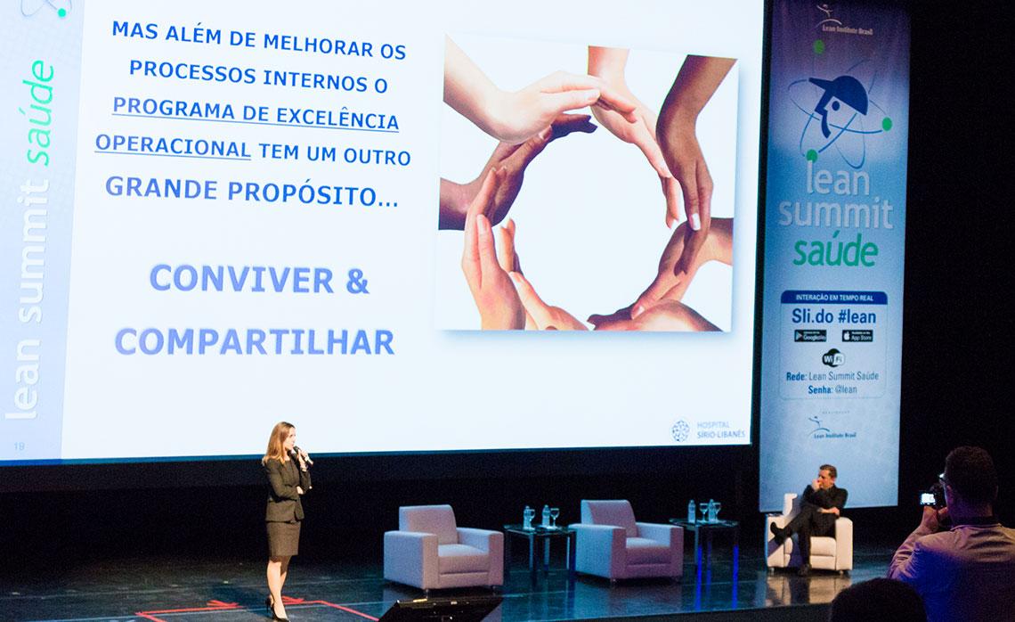 O Hospital Sírio-Libanês, representado por Paloma Perez, reforçou o propósito da implementação lean.