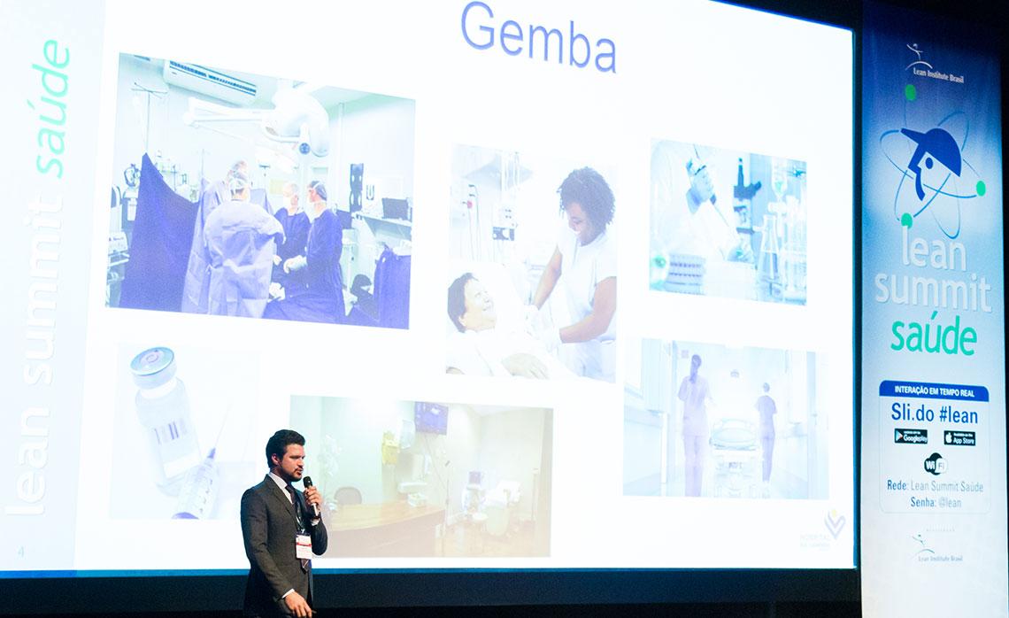 O Hospital PUC-Campinas, representado por Júlio Costa, mostrou a redução dos tempos de espera e a importância da ida ao gemba.